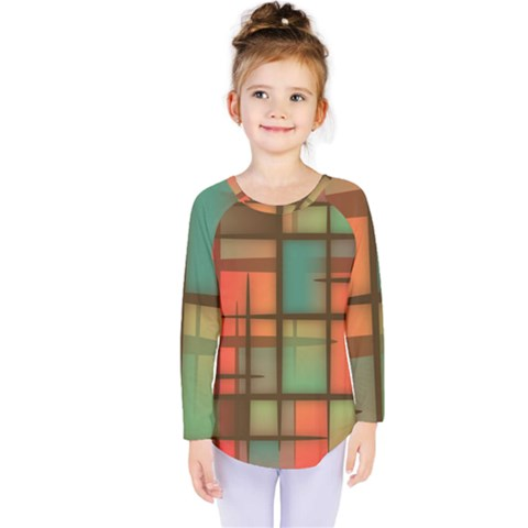 Chaos In Red And Green Kids  Long Sleeve Tee by TimelessFashion