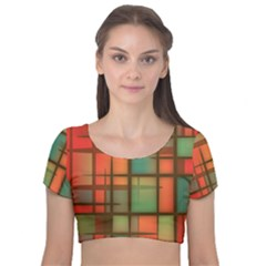 Chaos In Red And Green Velvet Short Sleeve Crop Top  by TimelessFashion