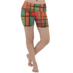 Chaos In Red And Green Lightweight Velour Yoga Shorts by TimelessFashion