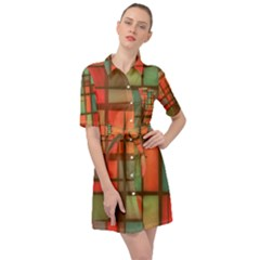 Chaos In Red And Green Belted Shirt Dress by TimelessFashion
