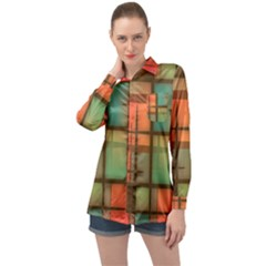 Chaos In Red And Green Long Sleeve Satin Shirt