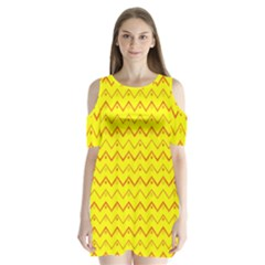 Chevron In Yellow Shoulder Cutout Velvet One Piece by TimelessFashion