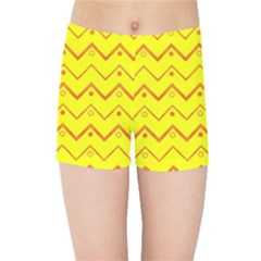 Chevron In Yellow Kids  Sports Shorts by TimelessFashion