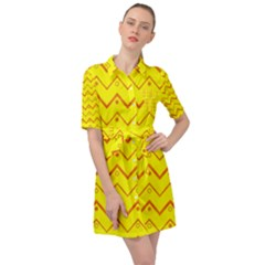 Chevron In Yellow Belted Shirt Dress by TimelessFashion