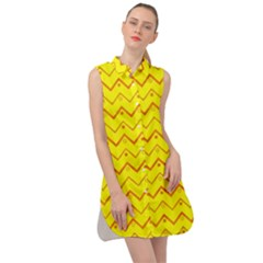 Chevron In Yellow Sleeveless Shirt Dress by TimelessFashion