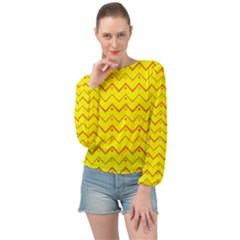 Chevron In Yellow Banded Bottom Chiffon Top by TimelessFashion
