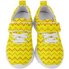 Chevron In Yellow Kids  Velcro Strap Shoes by TimelessFashion