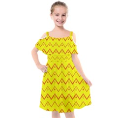 Chevron In Yellow Kids  Cut Out Shoulders Chiffon Dress by TimelessFashion