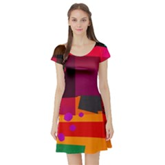 Colorful Abstract  Short Sleeve Skater Dress by TimelessFashion
