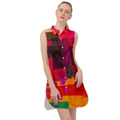 Colorful Abstract  Sleeveless Shirt Dress by TimelessFashion