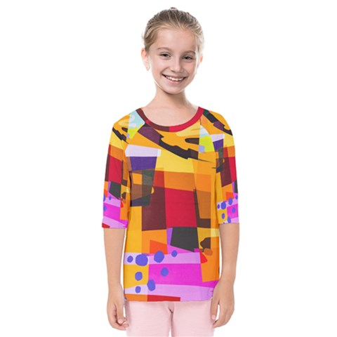 Colorful Abstract  Kids  Quarter Sleeve Raglan Tee by TimelessFashion