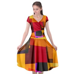 Colorful Abstract  Cap Sleeve Wrap Front Dress by TimelessFashion