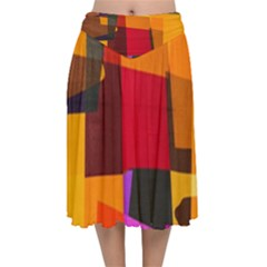 Colorful Abstract  Velvet Flared Midi Skirt by TimelessFashion