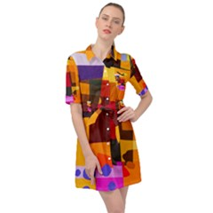 Colorful Abstract  Belted Shirt Dress by TimelessFashion