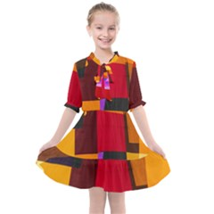 Colorful Abstract  Kids  All Frills Chiffon Dress by TimelessFashion