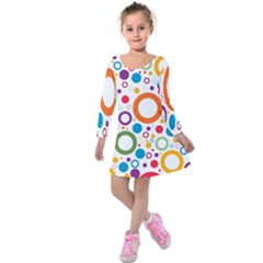 Colorful Circles  Kids  Long Sleeve Velvet Dress by TimelessFashion