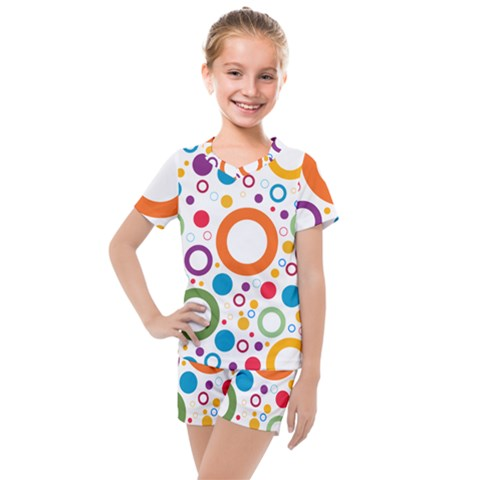 Colorful Circles  Kids  Mesh Tee And Shorts Set by TimelessFashion