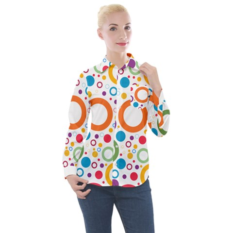 Colorful Circles  Women s Long Sleeve Pocket Shirt by TimelessFashion