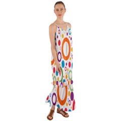 Colorful Circles  Cami Maxi Ruffle Chiffon Dress