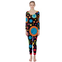 Colorful Circles Long Sleeve Catsuit by TimelessFashion