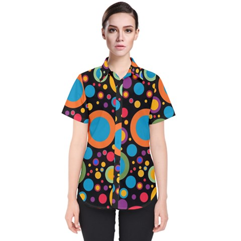 Colorful Circles Women s Short Sleeve Shirt by TimelessFashion