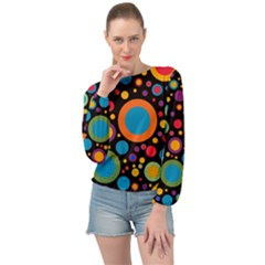 Colorful Circles Banded Bottom Chiffon Top by TimelessFashion