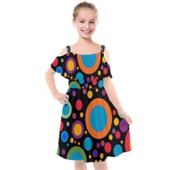 Colorful Circles Kids  Cut Out Shoulders Chiffon Dress by TimelessFashion