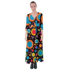 Colorful Circles Button Up Maxi Dress by TimelessFashion