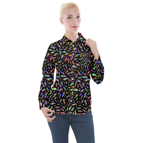 Colorful Diamonds Women s Long Sleeve Pocket Shirt by TimelessFashion