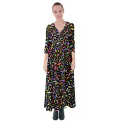 Colorful Diamonds Button Up Maxi Dress by TimelessFashion
