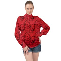 Curly In Red High Neck Long Sleeve Chiffon Top by TimelessFashion