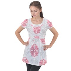 Cute Floral Design Puff Sleeve Tunic Top
