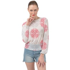 Cute Floral Design Banded Bottom Chiffon Top by TimelessFashion