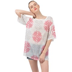 Cute Floral Design Oversized Chiffon Top
