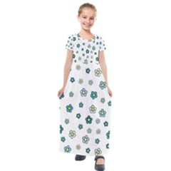 Cute Little Flowers Kids  Short Sleeve Maxi Dress by TimelessFashion