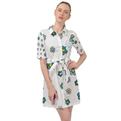 Cute Little Flowers Belted Shirt Dress by TimelessFashion