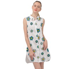 Cute Little Flowers Sleeveless Shirt Dress