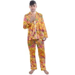Faded Flowers Men s Satin Pajamas Long Pants Set by TimelessFashion