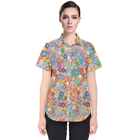 Floral Desire Women s Short Sleeve Shirt by TimelessFashion