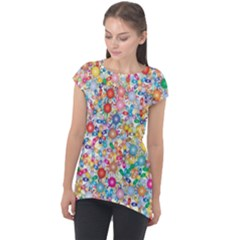 Flower Field Cap Sleeve High Low Top by TimelessFashion