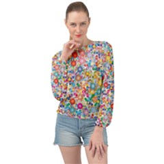 Flower Field Banded Bottom Chiffon Top by TimelessFashion