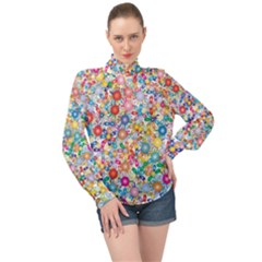 Flower Field High Neck Long Sleeve Chiffon Top by TimelessFashion