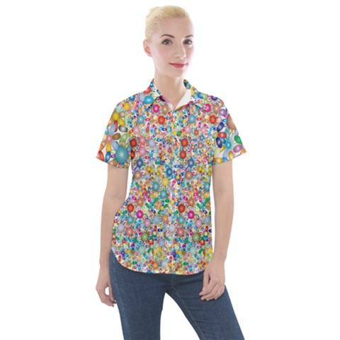 Flower Field Women s Short Sleeve Pocket Shirt by TimelessFashion
