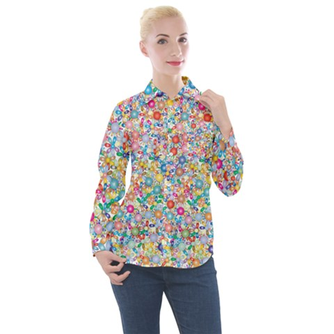 Flower Field Women s Long Sleeve Pocket Shirt by TimelessFashion