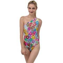 Flower Mix To One Side Swimsuit by TimelessFashion