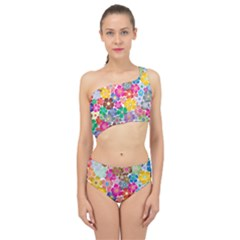 Flower Mix Spliced Up Two Piece Swimsuit by TimelessFashion