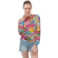 Flower Mix Banded Bottom Chiffon Top by TimelessFashion