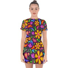 Flower Power! Drop Hem Mini Chiffon Dress by TimelessFashion