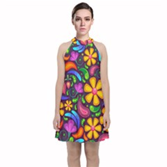 Flower Power! Velvet Halter Neckline Dress