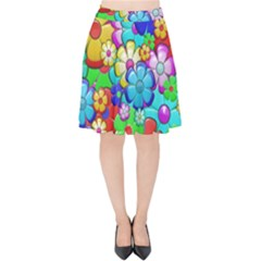 Flower With A Lot Of Power Velvet High Waist Skirt by TimelessFashion